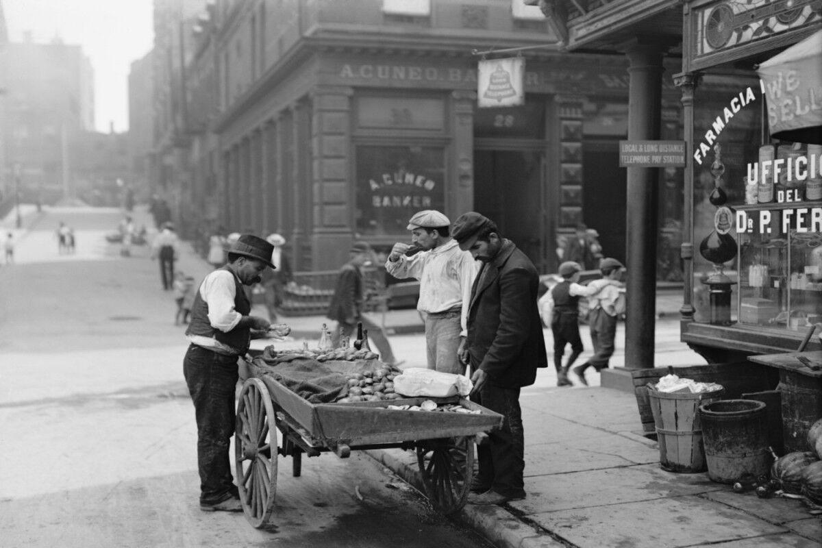 tagAlt.Early 19 century Italian men by food cart Italy cover
