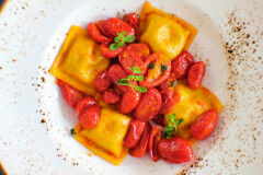 tagAlt.Cod filled Tortelli Chickpea Cream Cherry Tomato Confit