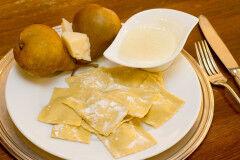 tagAlt.Pear and Pecorino filled Ravioli with Taleggio Cream