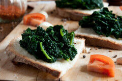 tagAlt.Toasted Bread Rounds with Tuscan Kale