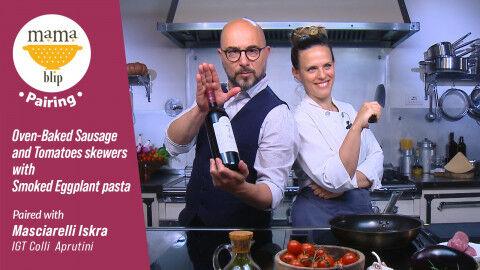 tagAlt.Live cooking class Tomato Sausage Skewers Eggplant Purée Masciarelli Iskra