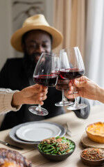 tagAlt.Black Power Friends Eating Drinking Wine Together 5