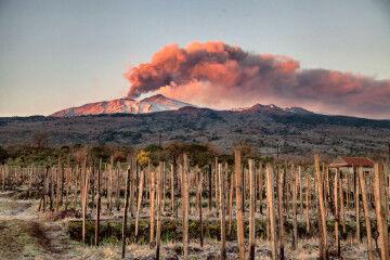 tagAlt.Etna volcano smoking pink skyline 2