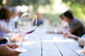 tagAlt.Wine glass group tasting San Giovese wine 2